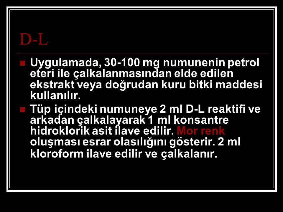 D-L Uygulamada, 30-100 mg numunenin petrol eteri ile çalkalanmasından elde edilen ekstrakt veya doğrudan kuru bitki maddesi kullanılır. Tüp içindeki n