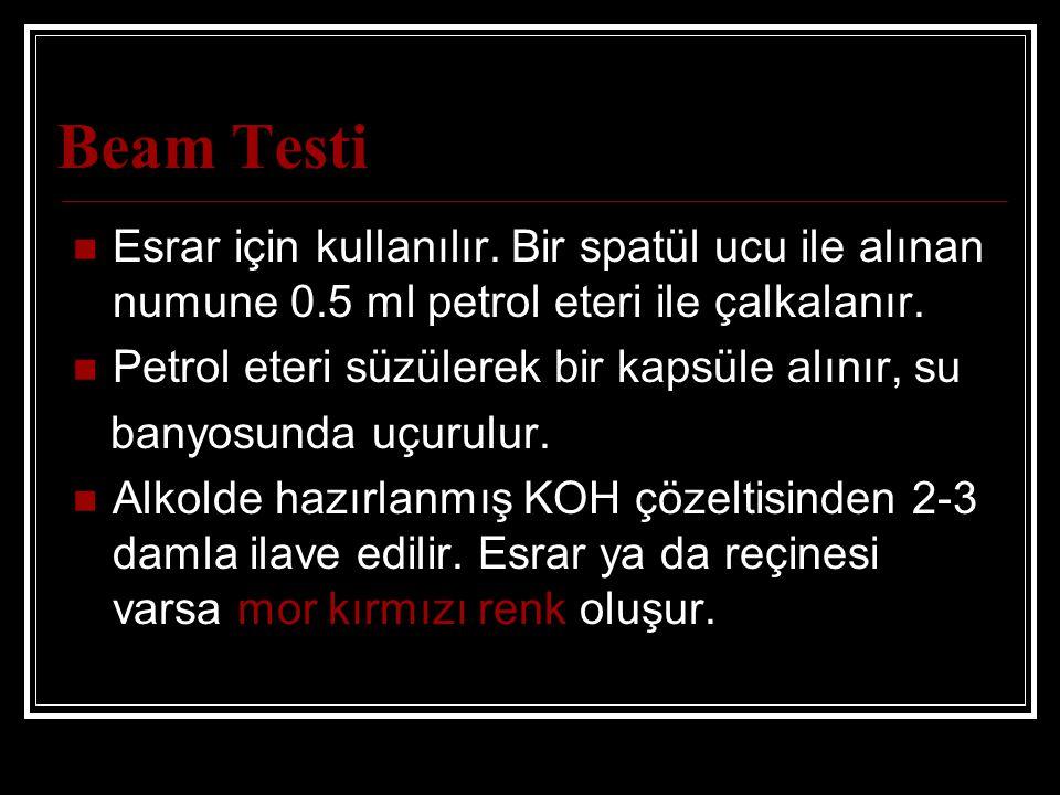 Beam Testi Esrar için kullanılır.