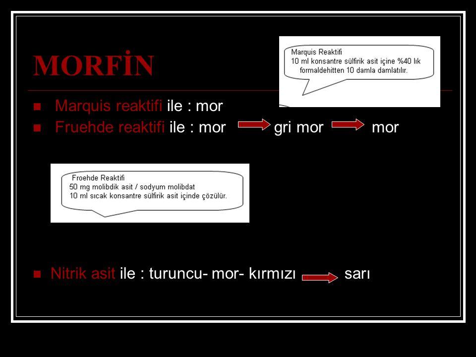 MORFİN Marquis reaktifi ile : mor Fruehde reaktifi ile : mor gri mor mor Nitrik asit ile : turuncu- mor- kırmızı sarı