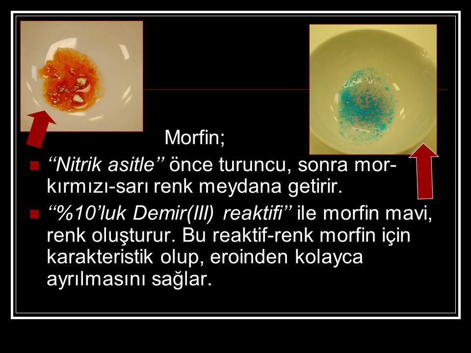 Morfin; ''Nitrik asitle'' önce turuncu, sonra mor- kırmızı-sarı renk meydana getirir. ''%10'luk Demir(III) reaktifi'' ile morfin mavi, renk oluşturur.