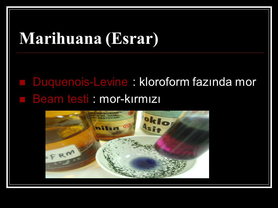 Marihuana (Esrar) Duquenois-Levine : kloroform fazında mor Beam testi : mor-kırmızı