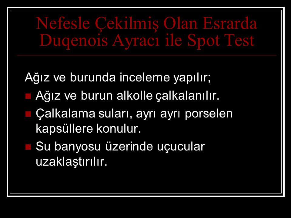 Nefesle Çekilmiş Olan Esrarda Duqenois Ayracı ile Spot Test Ağız ve burunda inceleme yapılır; Ağız ve burun alkolle çalkalanılır.