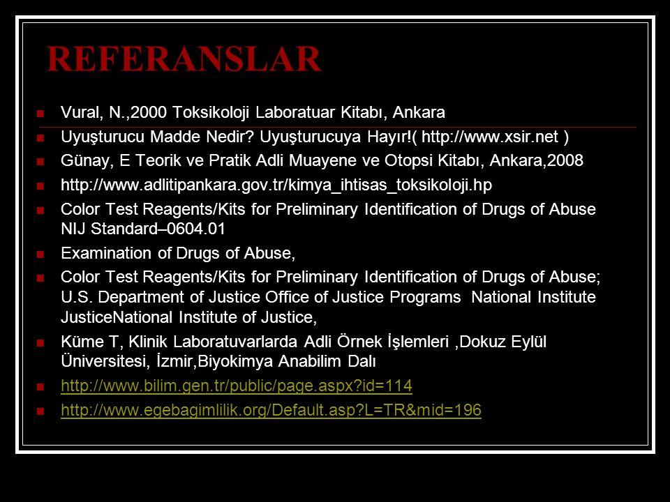 REFERANSLAR Vural, N.,2000 Toksikoloji Laboratuar Kitabı, Ankara Uyuşturucu Madde Nedir? Uyuşturucuya Hayır!( http://www.xsir.net ) Günay, E Teorik ve