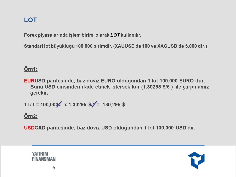 TEMİNAT Teminat: Pozisyon büyüklüğü x kaldıraç oranı Eğer kaldıraç 100:1 (0.01) Pozisyon büyüklüğü 100,000 ise; Teminat = 100,000 x 0.01 Örnek1: GBPUSD (USD baz döviz değil) GBPUSD = 1.56020 $/£ ise, Teminat = 100,000£ x 0.01=1000£ Bunu USD cinsine çevirirsek; Teminat = 100,000£ x 0.01 x 1.56020 $/£ =1560.2$ 9