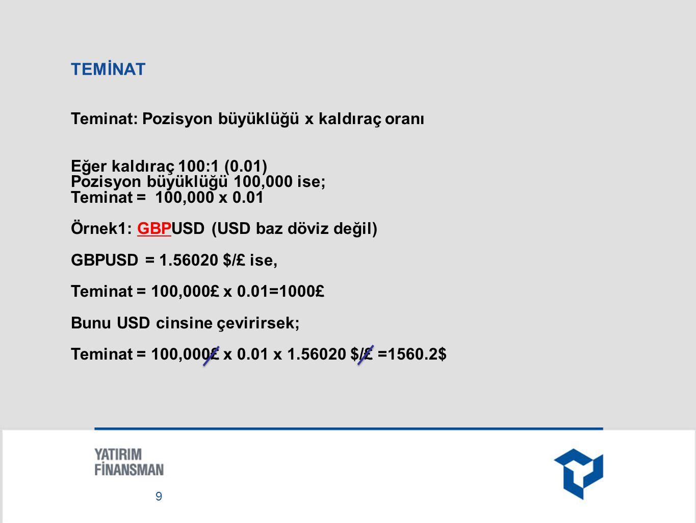 TEMİNAT Örnek2: USDTRY (USD baz döviz) Kaldıraç = 66:1 (0.015) Pozisyon büyüklüğü = 100,000$ Teminat = 100,000$ x 0.015 = 1,500$ 10