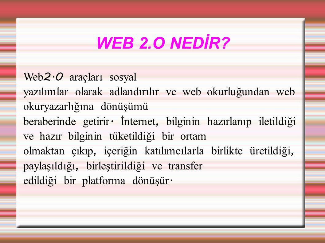 WEB1.0-WEB2.0 KARŞILAŞTIRMA Web1.0 Web2.0.Dura ğ an içerik vardır.