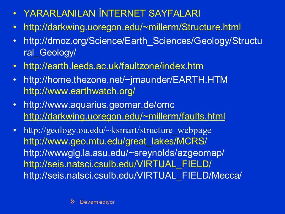 YARARLANILAN İNTERNET SAYFALARI http://darkwing.uoregon.edu/~millerm/Structure.html http://dmoz.org/Science/Earth_Sciences/Geology/Structu ral_Geology