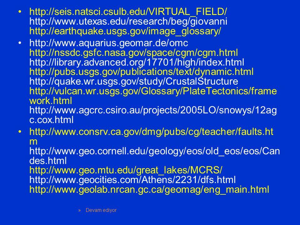 http://seis.natsci.csulb.edu/VIRTUAL_FIELD/ http://www.utexas.edu/research/beg/giovanni http://earthquake.usgs.gov/image_glossary/ http://www.aquarius