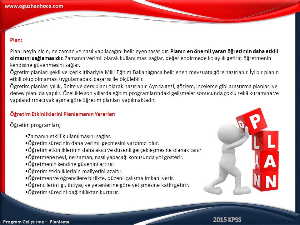 www.oguzhanhoca.com Plan: Plan; neyin niçin, ne zaman ve nasıl yapılacağını belirleyen tasarıdır.