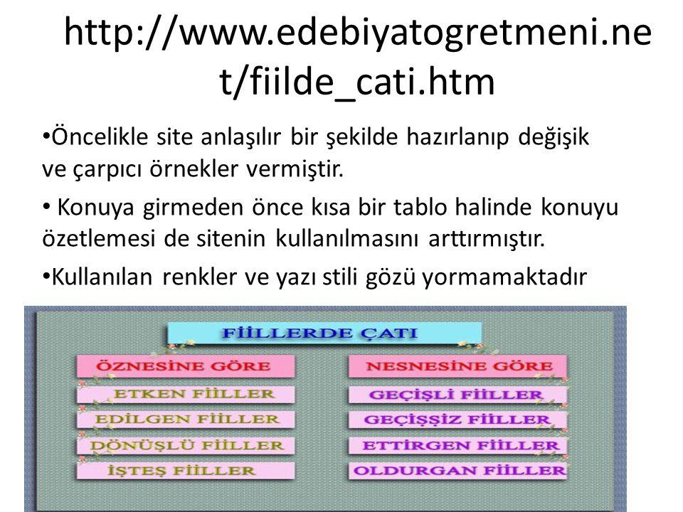 http://www.edebiyatogretmeni.ne t/fiilde_cati.htm Öncelikle site anlaşılır bir şekilde hazırlanıp değişik ve çarpıcı örnekler vermiştir. Konuya girmed
