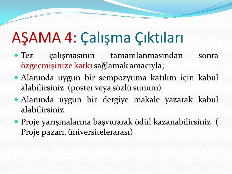 AŞAMA 5: Sisteme Giriş Yapılması 08.05.2015 tarihine kadar, tez başlığının ve özet kısmının(maks.