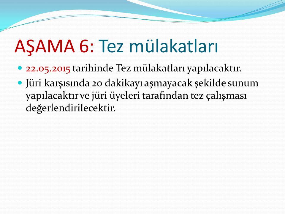 AŞAMA 6: Tez mülakatları 22.05.2015 tarihinde Tez mülakatları yapılacaktır. Jüri karşısında 20 dakikayı aşmayacak şekilde sunum yapılacaktır ve jüri ü