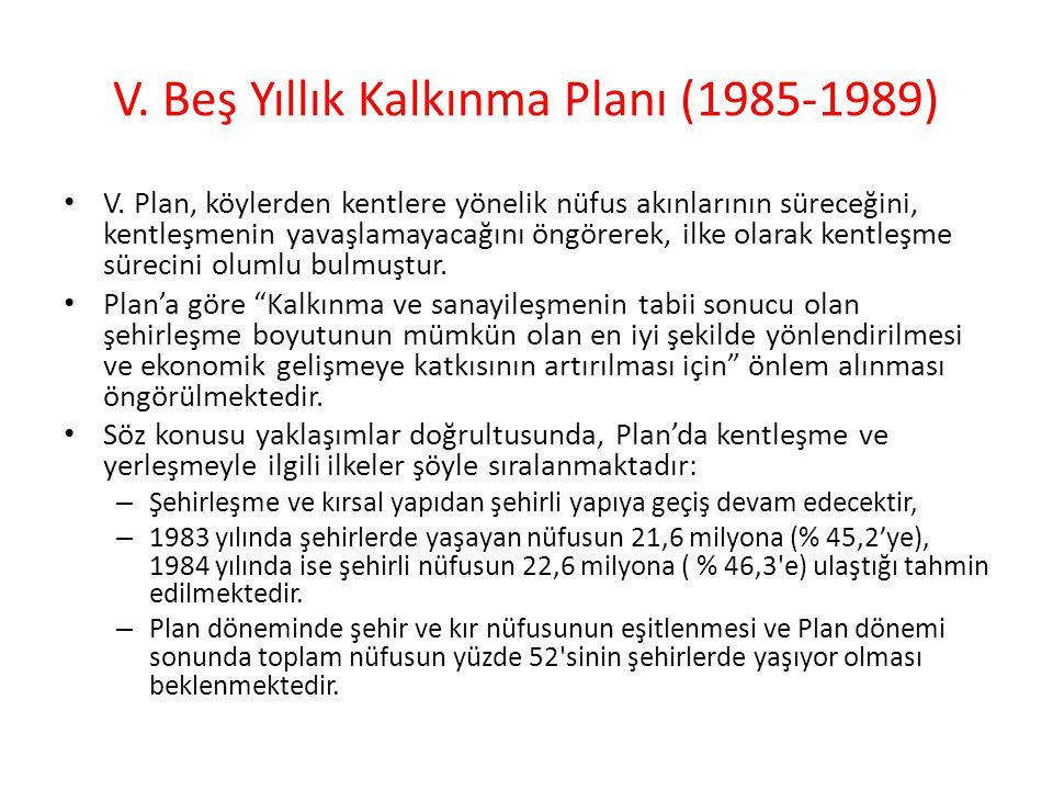 V.Beş Yıllık Kalkınma Planı (1985-1989) V.