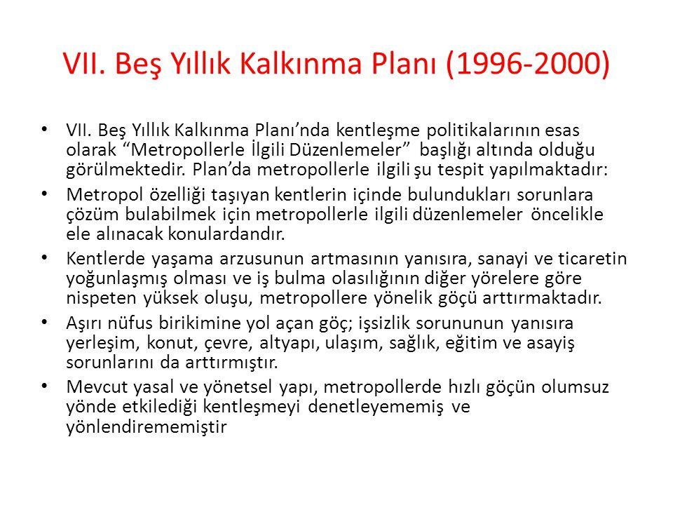 VII.Beş Yıllık Kalkınma Planı (1996-2000) VII.