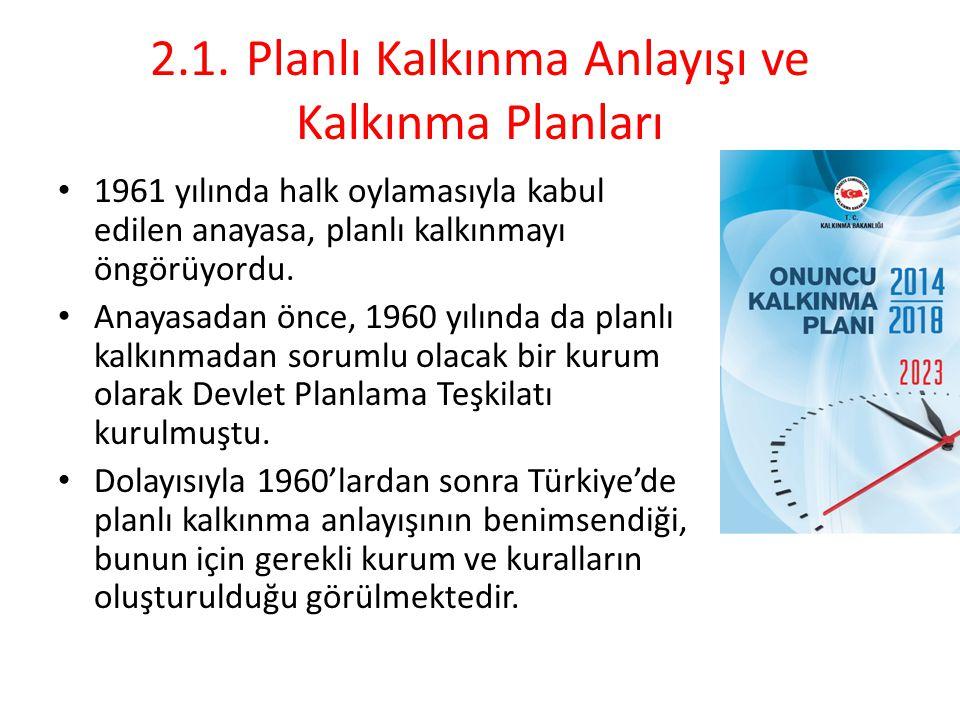 2.1.Planlı Kalkınma Anlayışı ve Kalkınma Planları Planlı kalkınma anlayışını gerçekleştirmek üzere beş yıllık kalkınma planları hazırlıkları başlamış ve ilki 1963 yılında kabul edilerek uygulanmıştır.