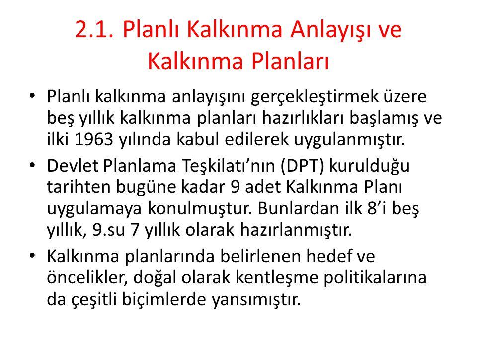 Kalkınma Planları'nda Kentleşme Politikaları I.Beş Yıllık Kalkınma Planı (1963-1967) I.