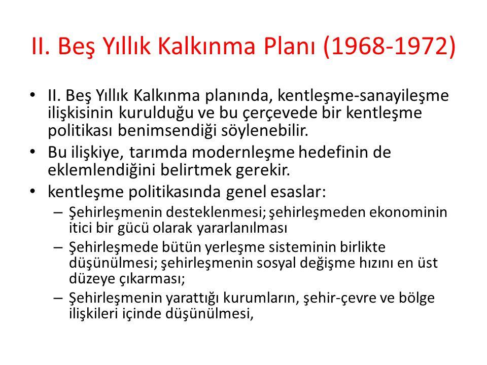 II.Beş Yıllık Kalkınma Planı (1968-1972) II.