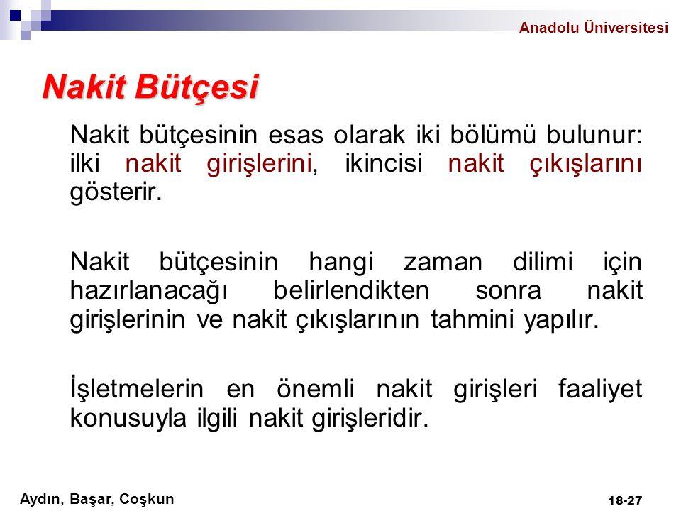 Anadolu Üniversitesi Aydın, Başar, Coşkun 18-27 Nakit Bütçesi Nakit bütçesinin esas olarak iki bölümü bulunur: ilki nakit girişlerini, ikincisi nakit