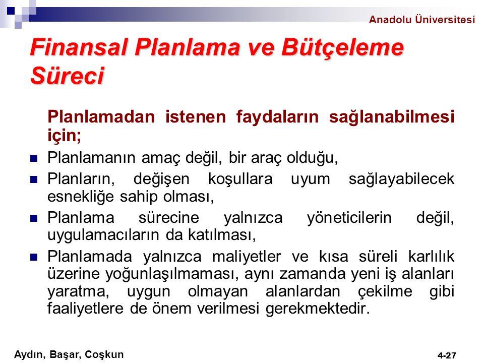Anadolu Üniversitesi Aydın, Başar, Coşkun 4-27 Finansal Planlama ve Bütçeleme Süreci Planlamadan istenen faydaların sağlanabilmesi için; Planlamanın a