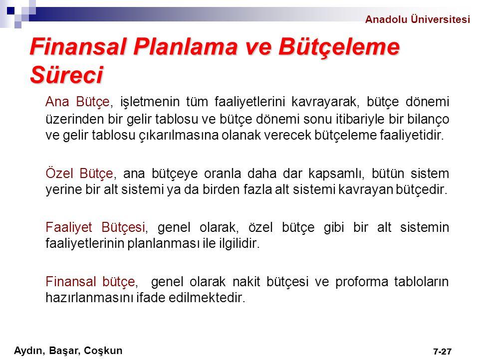 Anadolu Üniversitesi Aydın, Başar, Coşkun 7-27 Finansal Planlama ve Bütçeleme Süreci Ana Bütçe, işletmenin tüm faaliyetlerini kavrayarak, bütçe dönemi