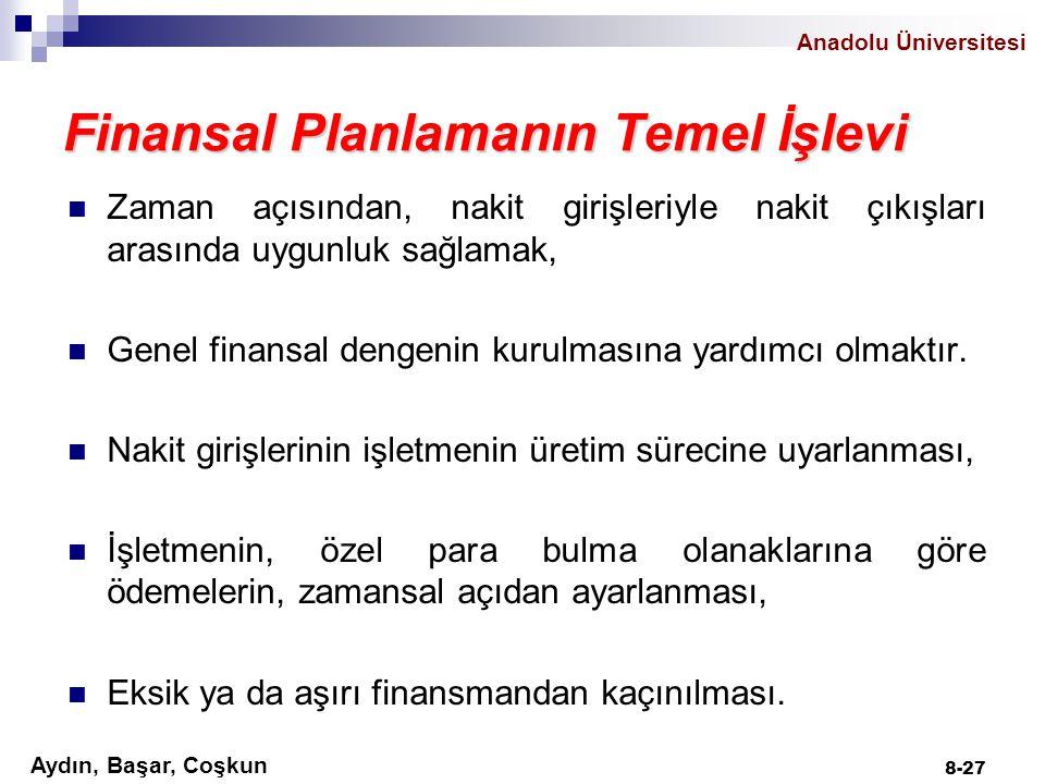 Anadolu Üniversitesi Aydın, Başar, Coşkun 8-27 Finansal Planlamanın Temel İşlevi Zaman açısından, nakit girişleriyle nakit çıkışları arasında uygunluk