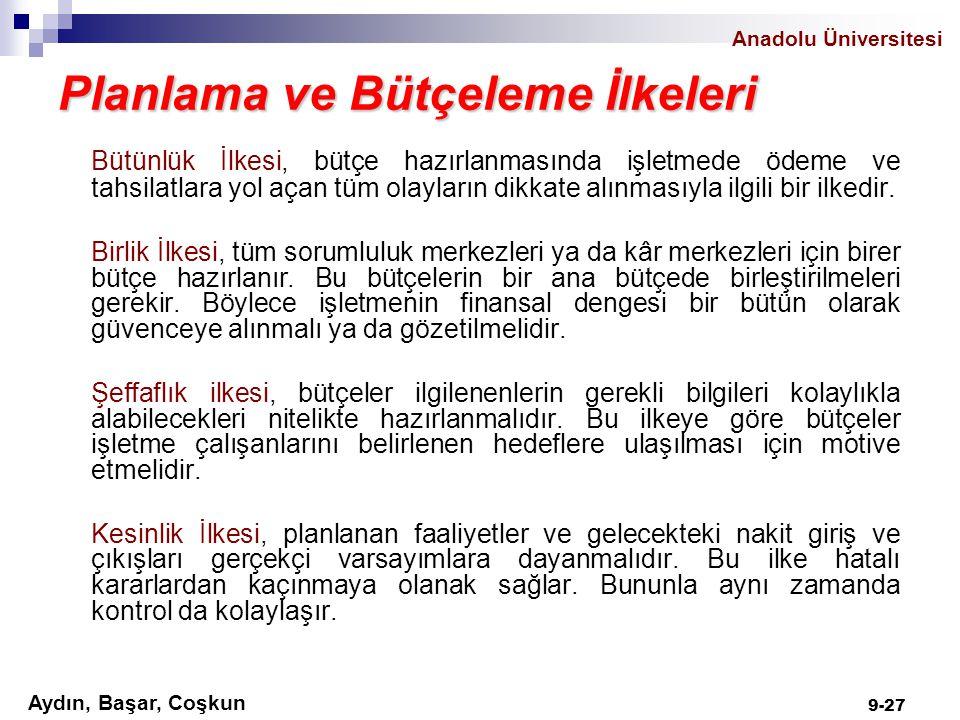 Anadolu Üniversitesi Aydın, Başar, Coşkun 9-27 Planlama ve Bütçeleme İlkeleri Bütünlük İlkesi, bütçe hazırlanmasında işletmede ödeme ve tahsilatlara y