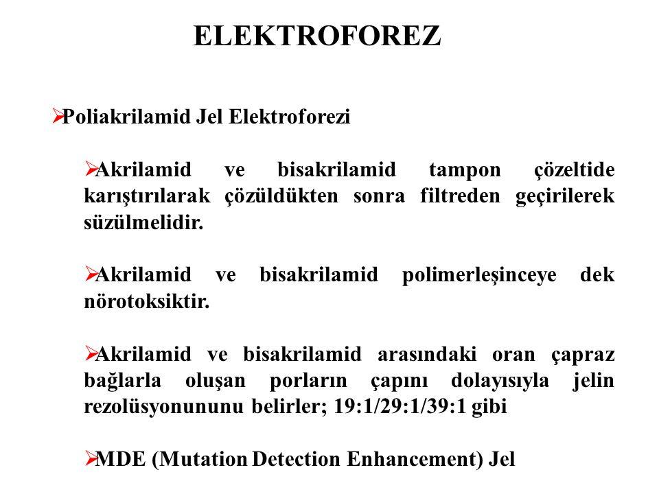 ELEKTROFOREZ  Poliakrilamid Jel Elektroforezi  Akrilamid ve bisakrilamid tampon çözeltide karıştırılarak çözüldükten sonra filtreden geçirilerek süz