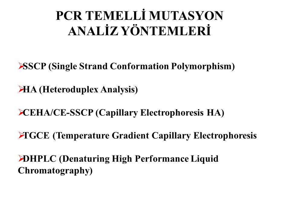 PCR TEMELLİ MUTASYON ANALİZ YÖNTEMLERİ  SSCP (Single Strand Conformation Polymorphism)  HA (Heteroduplex Analysis)  CEHA/CE-SSCP (Capillary Electro