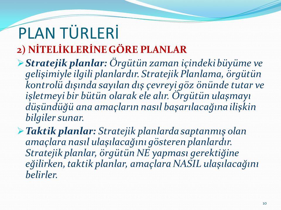 PLAN TÜRLERİ 2) NİTELİKLERİNE GÖRE PLANLAR  Stratejik planlar: Örgütün zaman içindeki büyüme ve gelişimiyle ilgili planlardır. Stratejik Planlama, ör