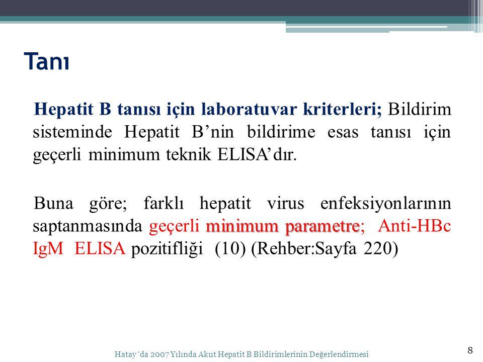 Tanı Hepatit B tanısı için laboratuvar kriterleri; Bildirim sisteminde Hepatit B'nin bildirime esas tanısı için geçerli minimum teknik ELISA'dır. mini