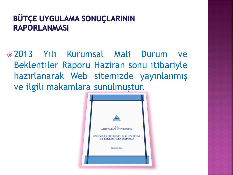  2013 Yılı Kurumsal Mali Durum ve Beklentiler Raporu Haziran sonu itibariyle hazırlanarak Web sitemizde yayınlanmış ve ilgili makamlara sunulmuştur.