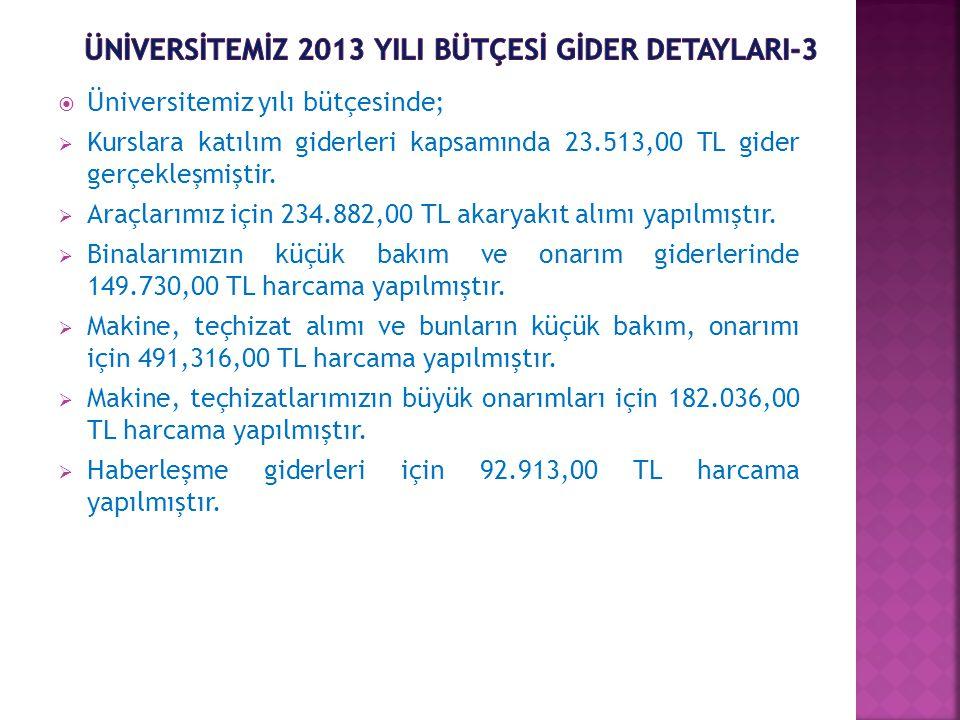  Üniversitemiz yılı bütçesinde;  Kurslara katılım giderleri kapsamında 23.513,00 TL gider gerçekleşmiştir.