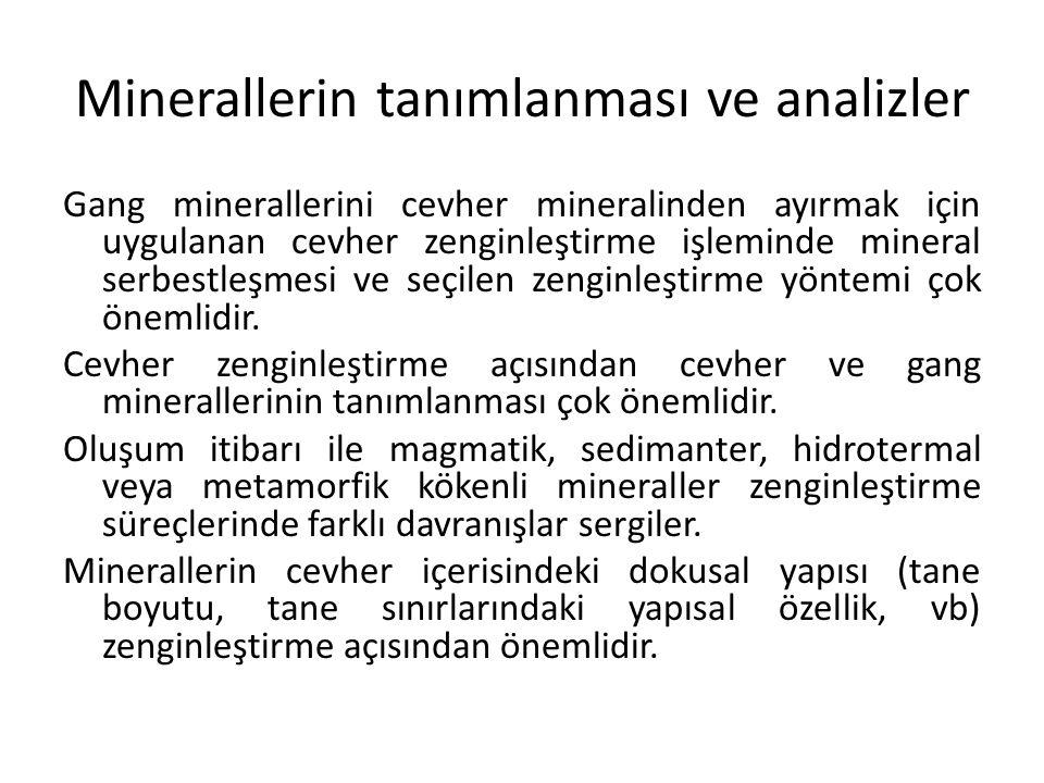 Minerallerin tanımlanması ve analizler Gang minerallerini cevher mineralinden ayırmak için uygulanan cevher zenginleştirme işleminde mineral serbestle