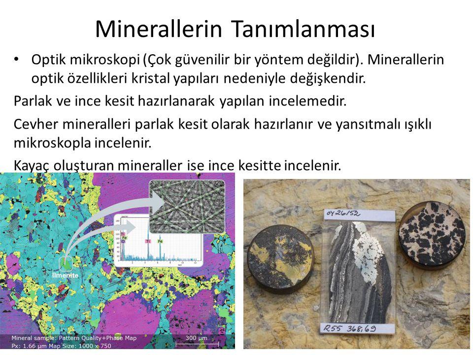 Minerallerin Tanımlanması Optik mikroskopi (Çok güvenilir bir yöntem değildir). Minerallerin optik özellikleri kristal yapıları nedeniyle değişkendir.