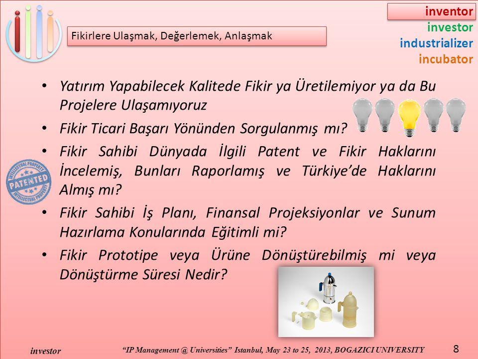 "inventor investor industrializer incubator ""IP Management @ Universities"" Istanbul, May 23 to 25, 2013, BOGAZICI UNIVERSITY investor 8 Fikirlere Ulaşm"