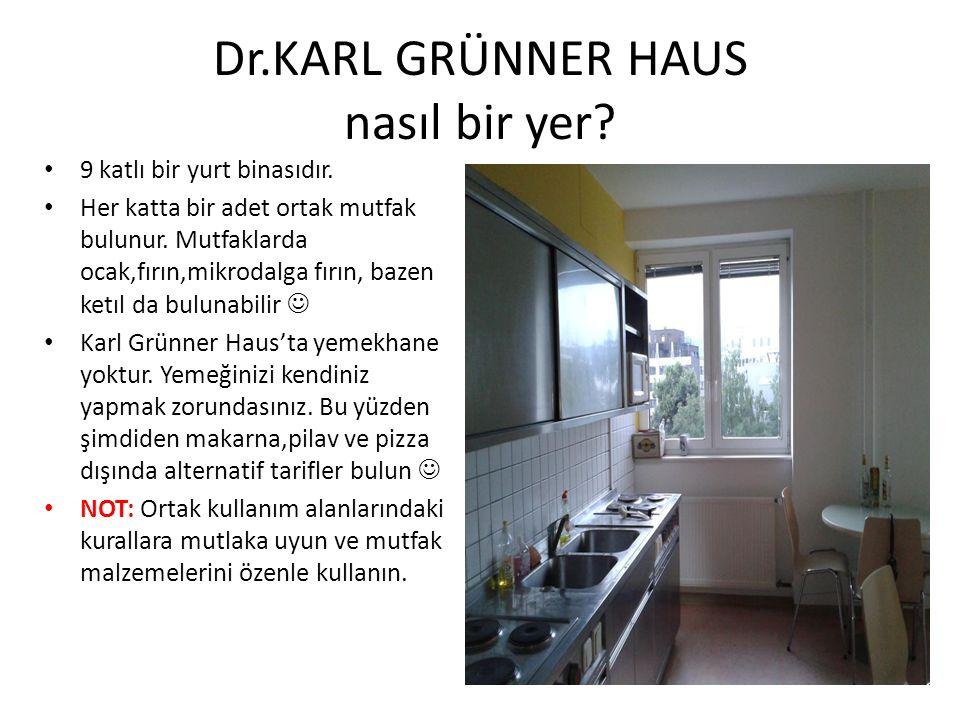 Dr.KARL GRÜNNER HAUS nasıl bir yer? 9 katlı bir yurt binasıdır. Her katta bir adet ortak mutfak bulunur. Mutfaklarda ocak,fırın,mikrodalga fırın, baze