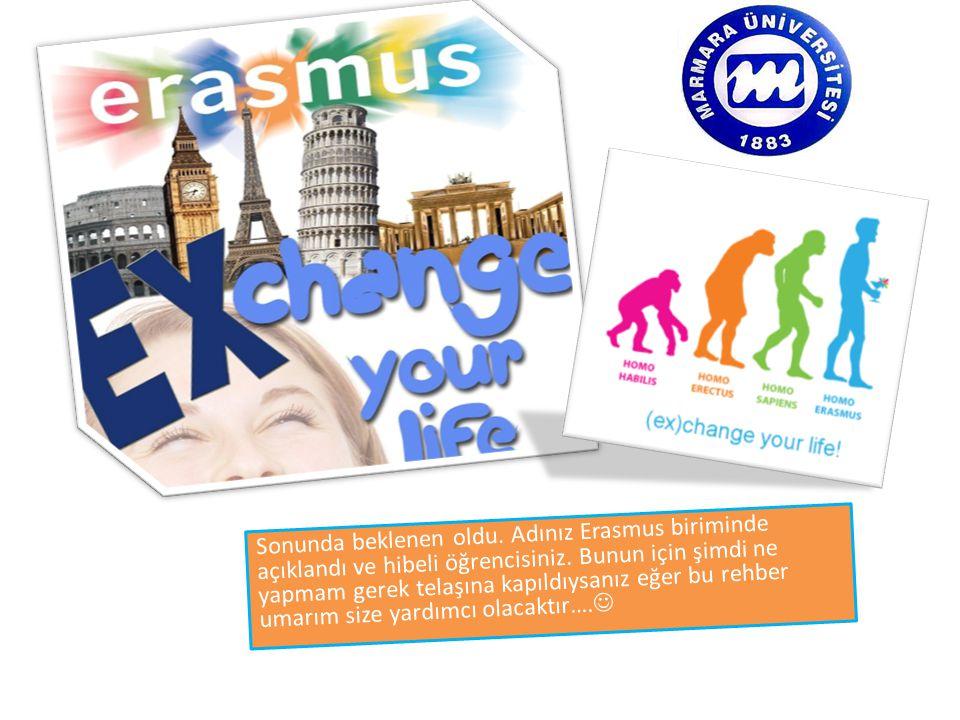 Sonunda beklenen oldu.Adınız Erasmus biriminde açıklandı ve hibeli öğrencisiniz.