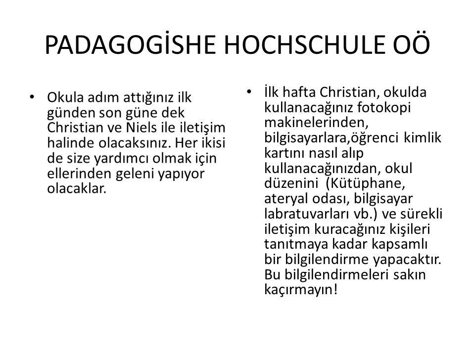 PADAGOGİSHE HOCHSCHULE OÖ Okula adım attığınız ilk günden son güne dek Christian ve Niels ile iletişim halinde olacaksınız.