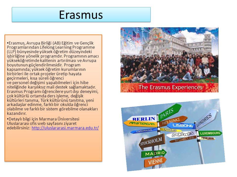 Erasmus Erasmus, Avrupa Birliği (AB) Eğitim ve Gençlik Programlarından Lifelong Learning Programme (LLP) bünyesinde yüksek öğretim düzeyindeki işbirliğine yönelik programdır.