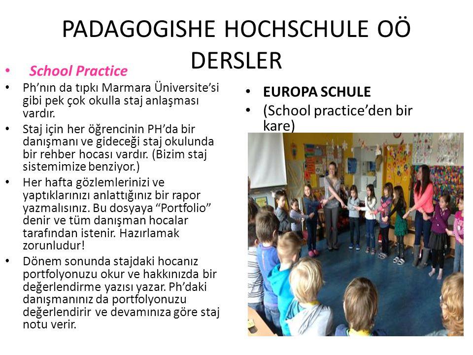 PADAGOGISHE HOCHSCHULE OÖ DERSLER School Practice Ph'nın da tıpkı Marmara Üniversite'si gibi pek çok okulla staj anlaşması vardır. Staj için her öğren