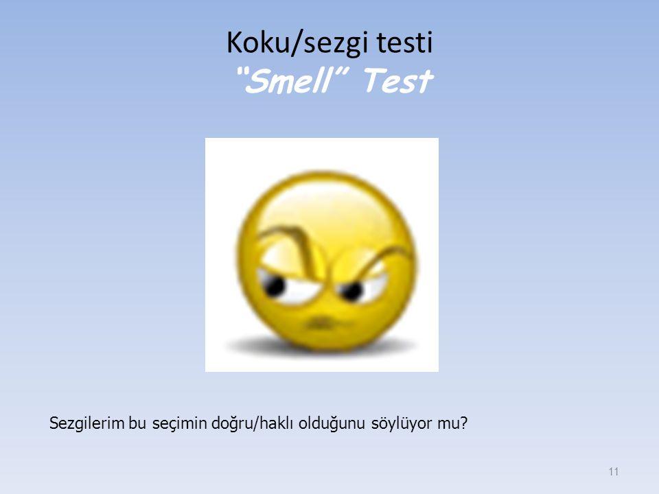 """Koku/sezgi testi """"Smell"""" Test 11 Sezgilerim bu seçimin doğru/haklı olduğunu söylüyor mu?"""