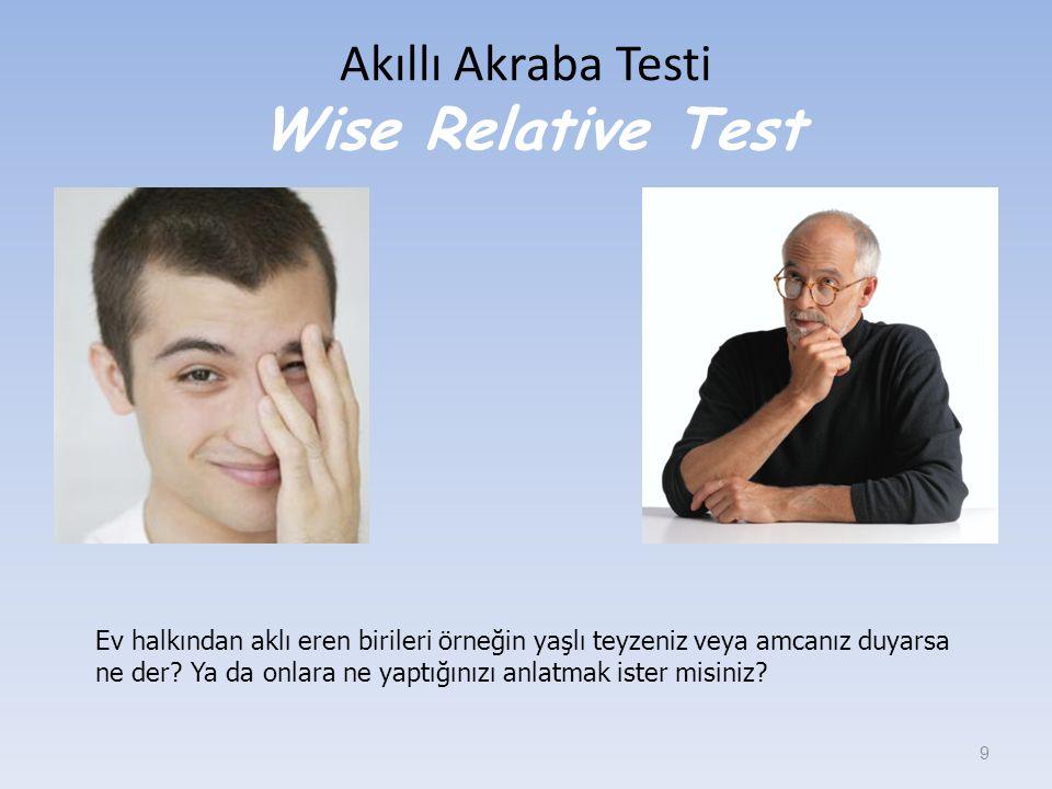 Akıllı Akraba Testi Wise Relative Test 9 Ev halkından aklı eren birileri örneğin yaşlı teyzeniz veya amcanız duyarsa ne der? Ya da onlara ne yaptığını