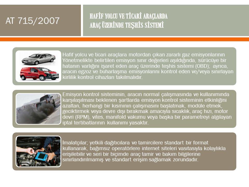 Hafif yolcu ve ticari araçlara motordan çıkan zararlı gaz emisyonlarının Yönetmelikte belirtilen emisyon sınır değerleri aşıldığında, sürücüye bir hat