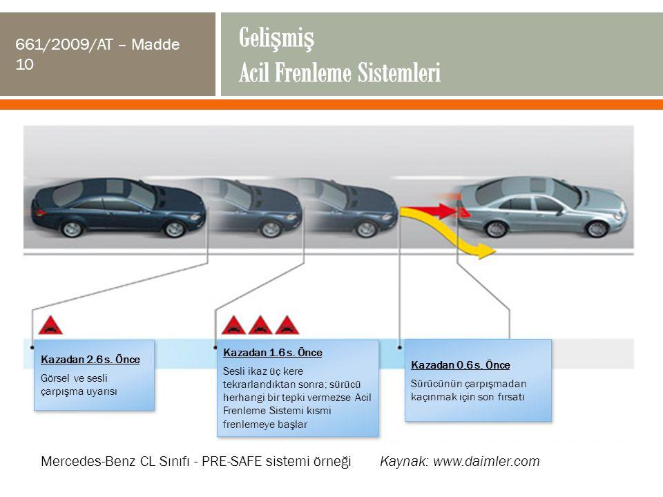 Kazadan 2.6 s. Önce Görsel ve sesli çarpışma uyarısı Kazadan 2.6 s. Önce Görsel ve sesli çarpışma uyarısı Kazadan 1.6 s. Önce Sesli ikaz üç kere tekra