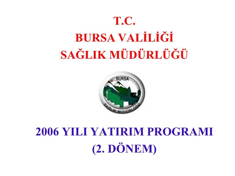 T.C. BURSA VALİLİĞİ SAĞLIK MÜDÜRLÜĞÜ 2006 YILI YATIRIM PROGRAMI (2. DÖNEM)
