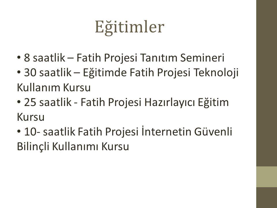 Eğitimler 8 saatlik – Fatih Projesi Tanıtım Semineri 30 saatlik – Eğitimde Fatih Projesi Teknoloji Kullanım Kursu 25 saatlik - Fatih Projesi Hazırlayı