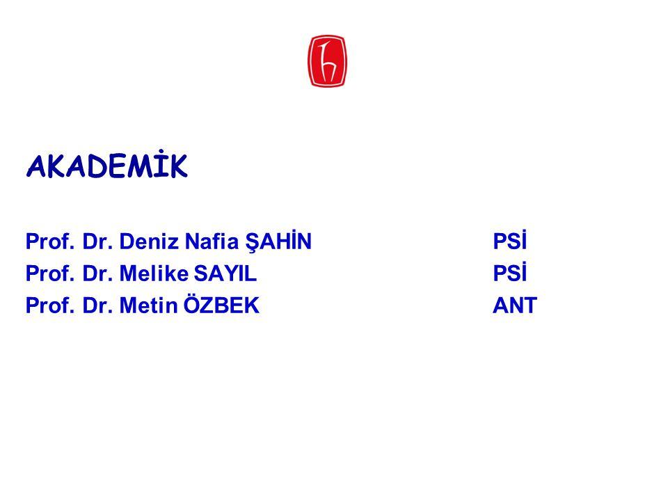 AKADEMİK Prof. Dr. Deniz Nafia ŞAHİNPSİ Prof. Dr. Melike SAYILPSİ Prof. Dr. Metin ÖZBEKANT