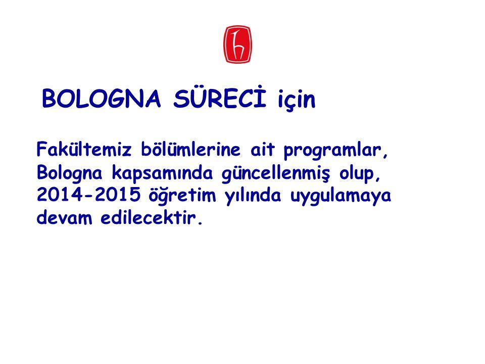 Fakültemiz bölümlerine ait programlar, Bologna kapsamında güncellenmiş olup, 2014-2015 öğretim yılında uygulamaya devam edilecektir. BOLOGNA SÜRECİ iç