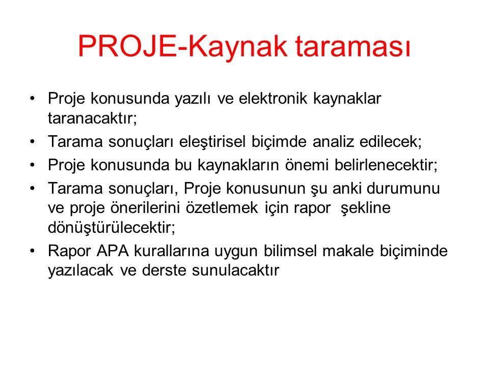PROJE-Kaynak taraması Proje konusunda yazılı ve elektronik kaynaklar taranacaktır; Tarama sonuçları eleştirisel biçimde analiz edilecek; Proje konusun