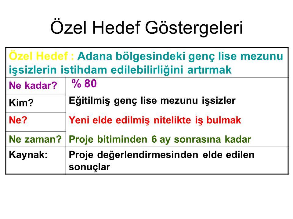 Özel Hedef Göstergeleri Özel Hedef : Adana bölgesindeki genç lise mezunu işsizlerin istihdam edilebilirliğini artırmak Ne kadar? % 80 Kim? Eğitilmiş g